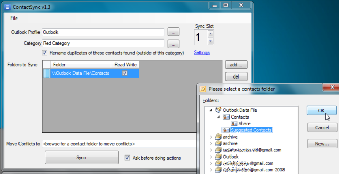 select contacts folder