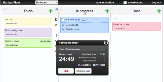 KanbanFlow: Private & Shared To-Do List Management With Pomodoro Timer