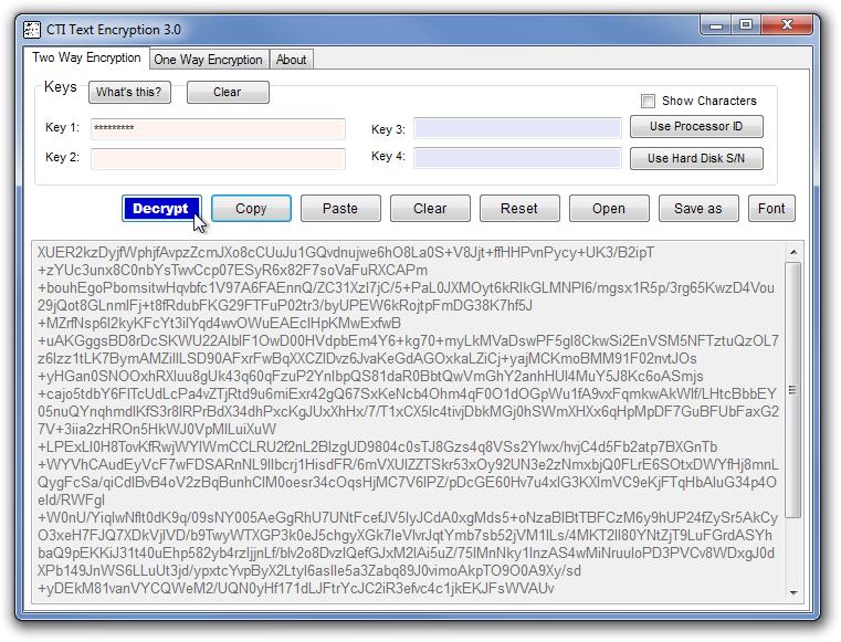 CTI Text Encryption 3.0 Decrypt