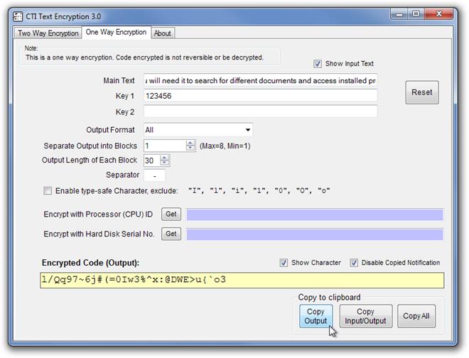 CTI Text Encryption 3.0 One Way Encryption