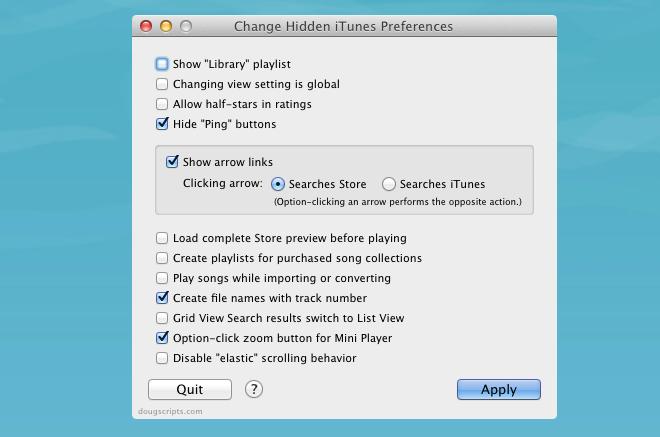 Change Hidden iTunes Preferences