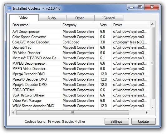 CodecInstaller_Installed Codecs