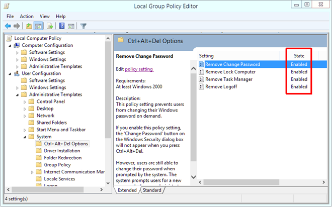 Local Group Policy Editor Ctrl   Alt   Del Options