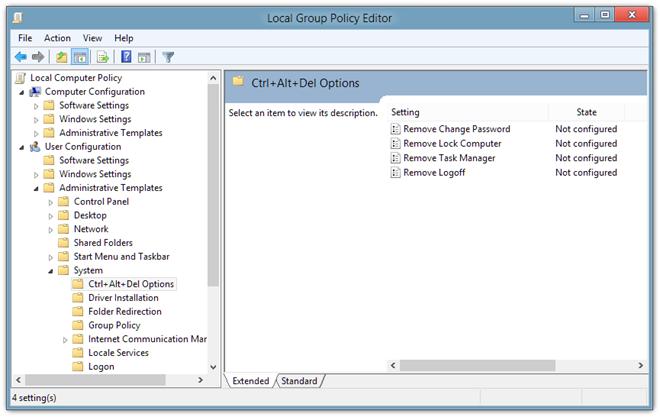 Local Group Policy Editor Ctrl   Alt   Del