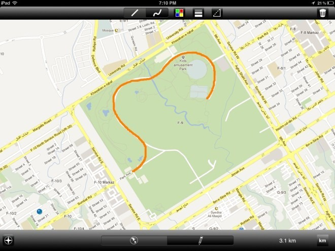 Map Ruler Touch for iPad Freehand Measure Jogging Track