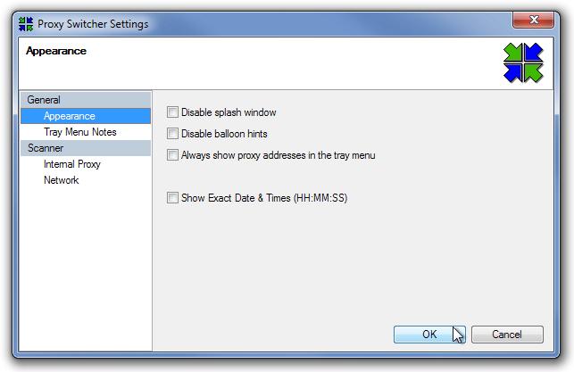Proxy Switcher Settings