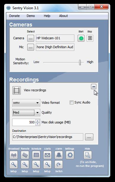 Sentry Vision Recording options