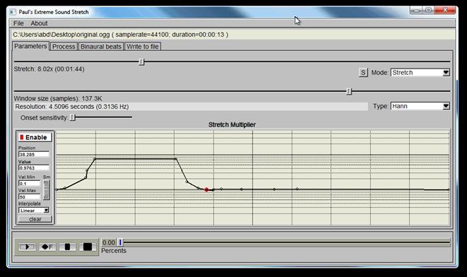 Sound Stretch basic screen
