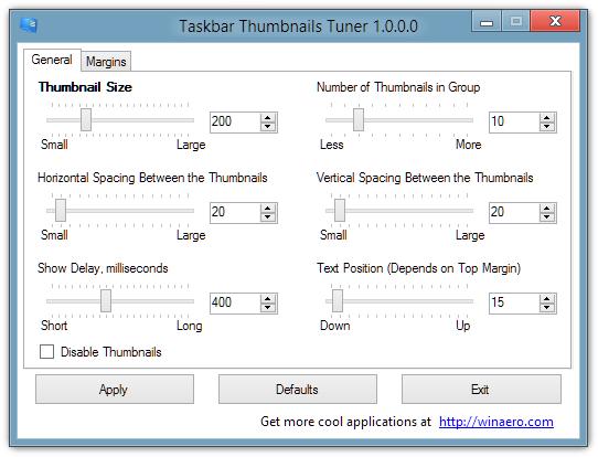 Taskbar Thumbnails Tuner 1.0.0.0