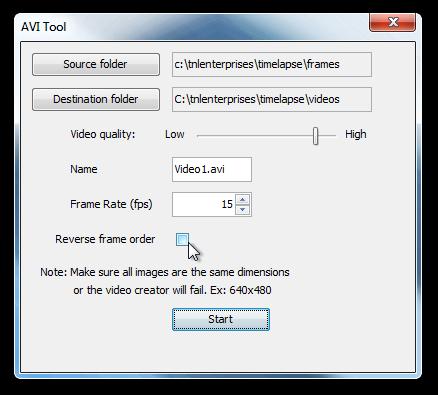 Webcam Timelapse AVI Tool