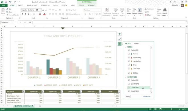 Chart Filters Excel 2013