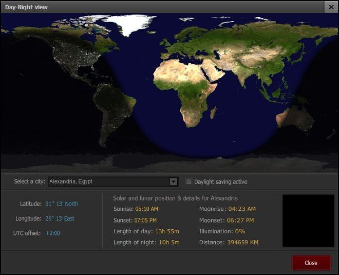 Day-night view Advanced World Clock