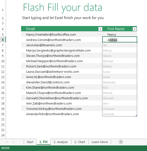 FlashFill Excel 2013