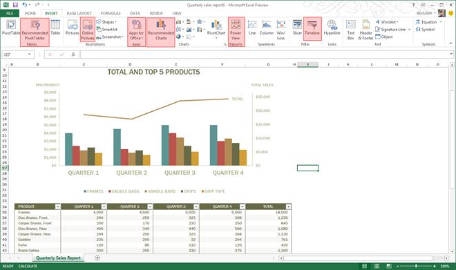 Insert in Excel 2013