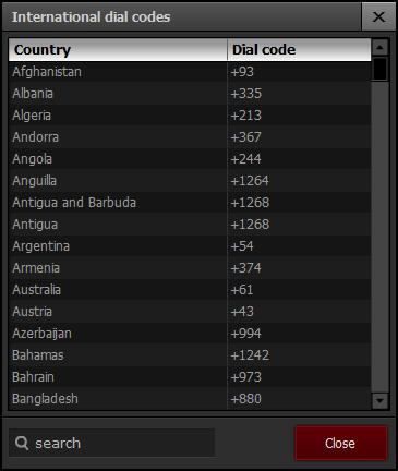 International dial codes Advanced World Clock