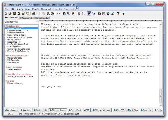 NoteTab Light (Acc)  -  CProgram Files (x86)NoteTab LightReadme.txt