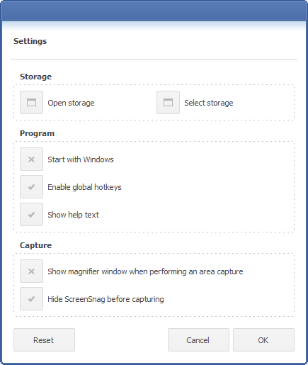 ScreenSnag settings