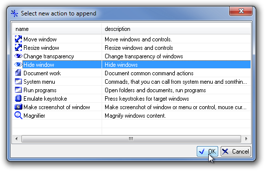 Select new action to append