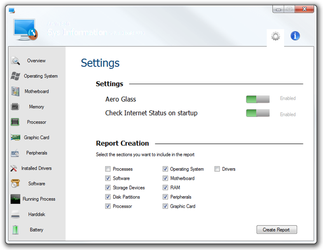 SysInformation settings