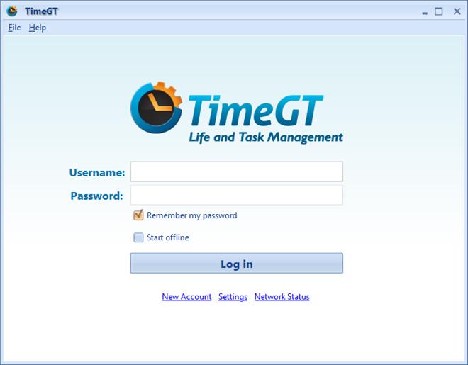 TimeGT Login screen