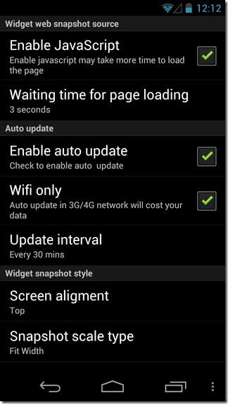 WebSnap-Android-Widget-Settings
