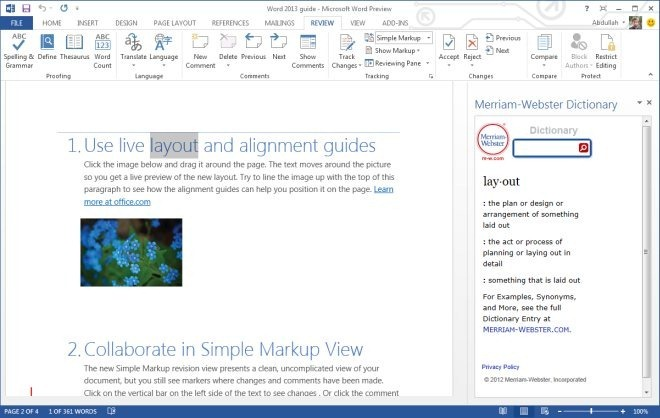 Word 2013 guide - Define feature