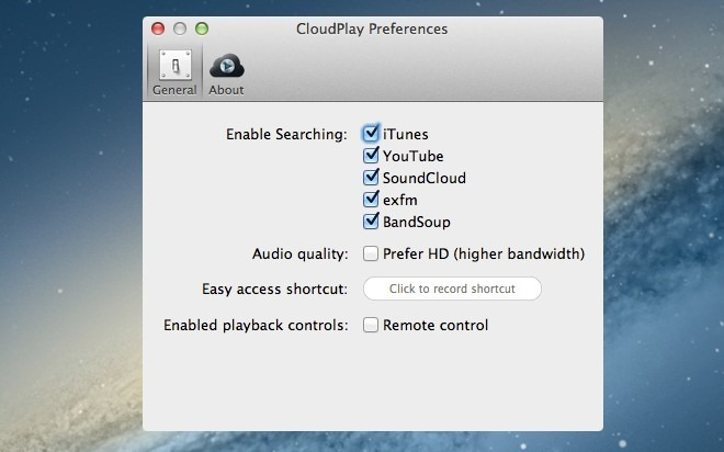 CloudPlay preferences