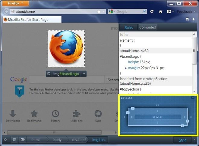 Firefox 15 inspect element