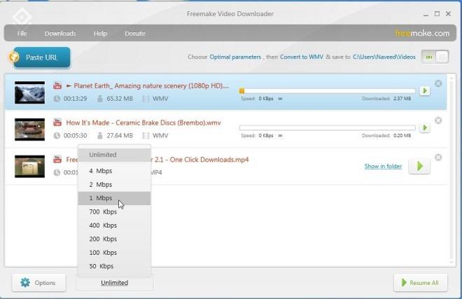 Freemake Video Downloader_Speed Limit
