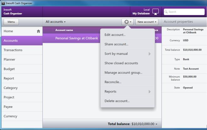 Inesoft Cash Organizer- Accounts