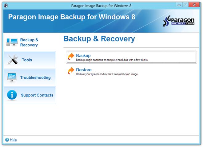 Paragon Image Backup for Windows 8