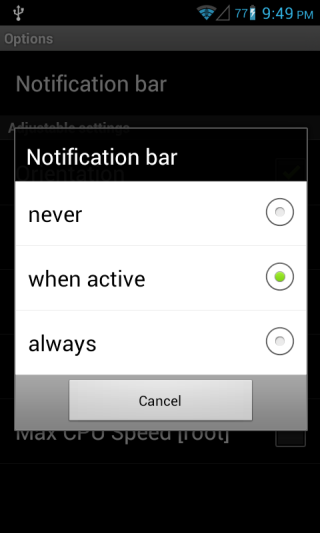 PerApp Settings Notification Android