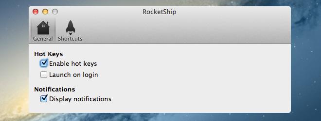 RocketShip preferences