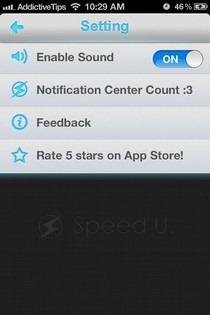 Speed U iOS Settings