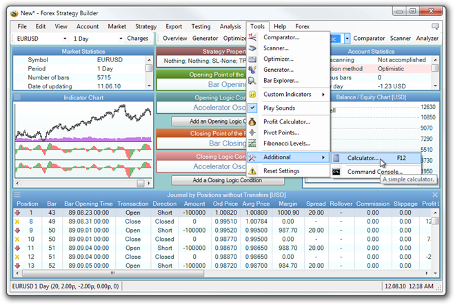 Tools - Forex Strategy Builder