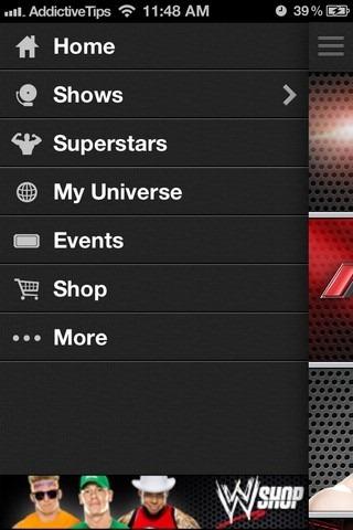 WWE iOS Menu
