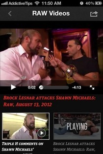 WWE iOS Videos