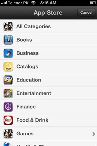 App Store Categories iPhone iOS 6