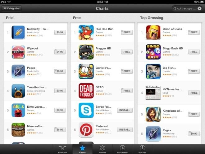 App Store Charts iPad iOS 6