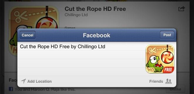 App Store Facebook Share iPad iOS 6