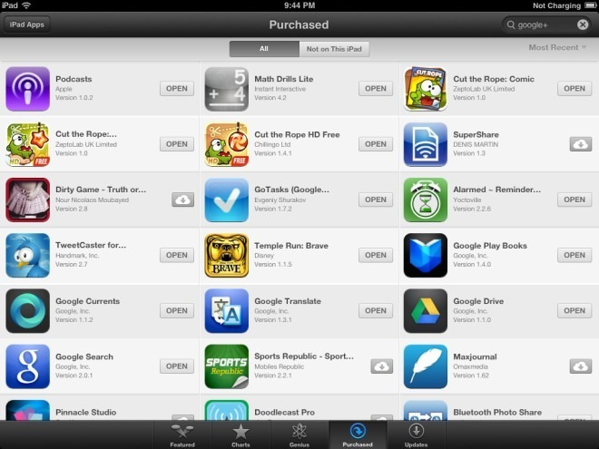 App Store Purchased iPad iOS 6