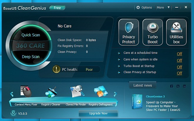 CleanGenius Main Screen