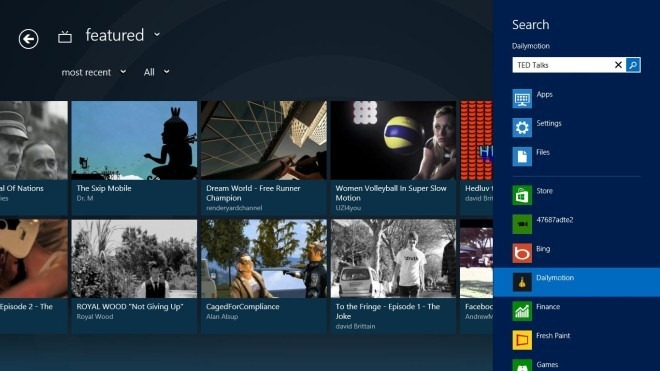 Dailymotion_Windows 8_Search