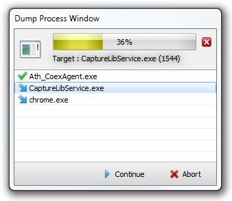 Dump Process Window