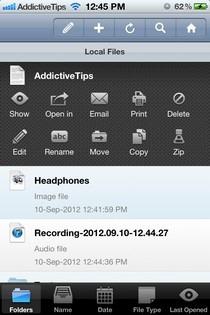 FileApp Pro iOS File Options