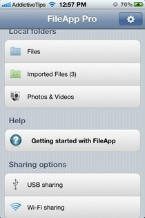 FileApp Pro iOS Home