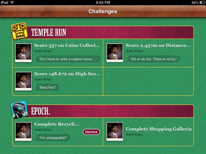 Game Center Challenges