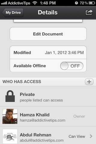 Google Drive iOS Edit Doc