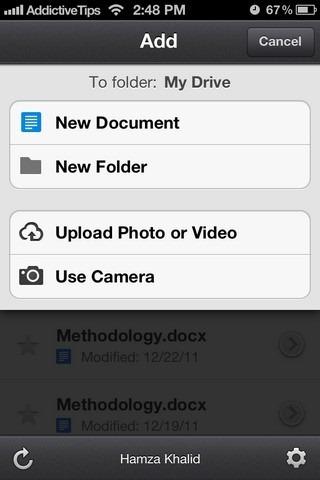Google Drive iOS Upload