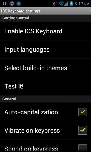 Keyboard - ICS - Settings